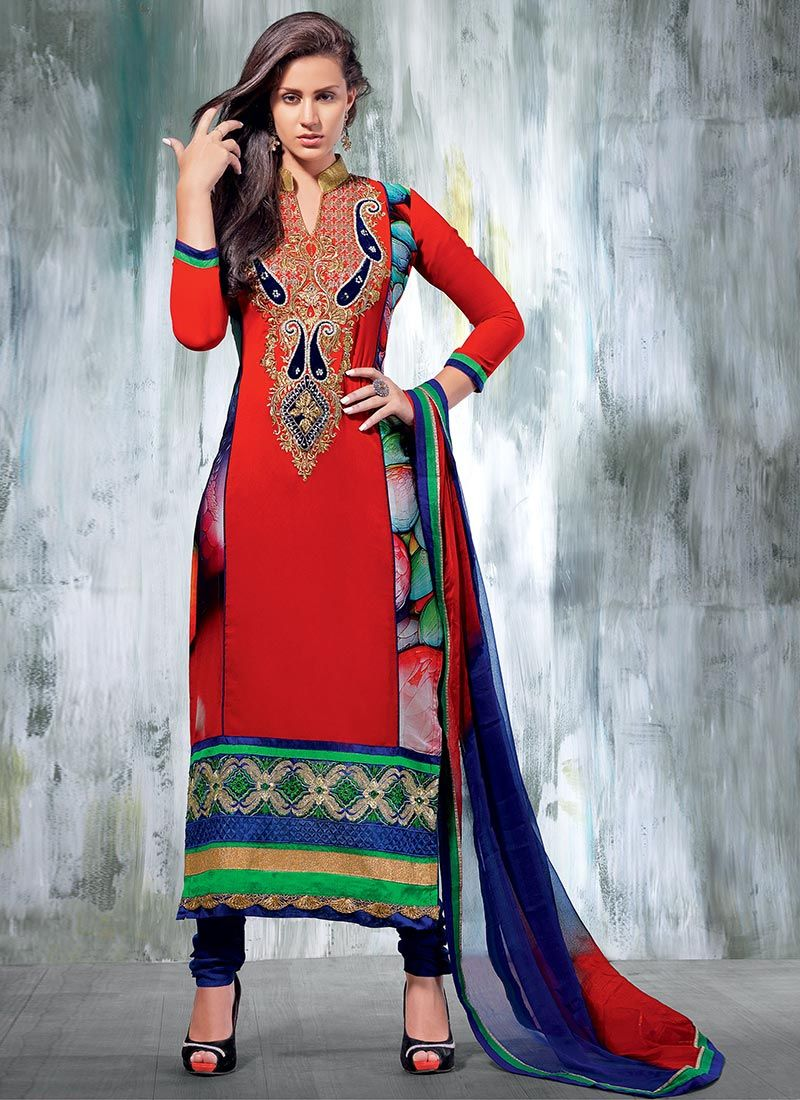 Red Zari Churidar Suit