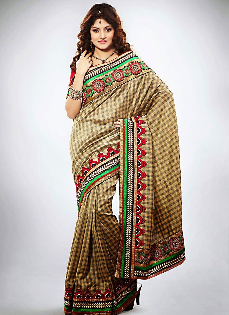 Redefining Beige Jute Silk Wedding Saree