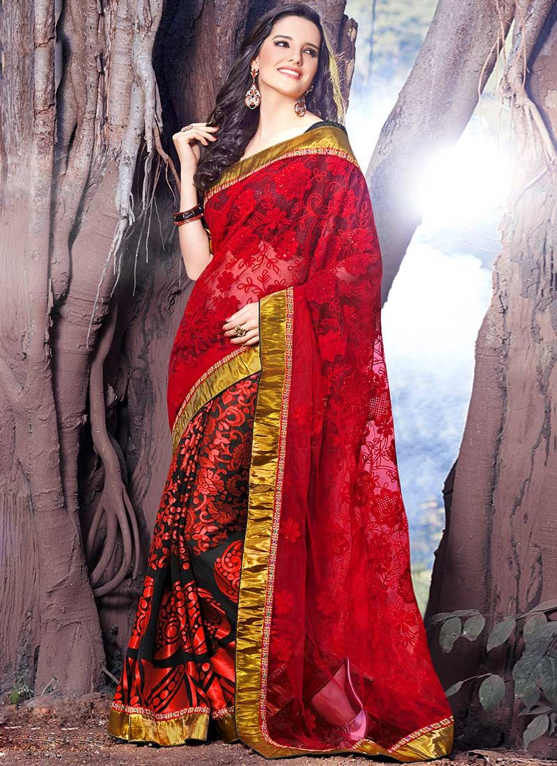 Rediant Black And Red Brasso Net Saree