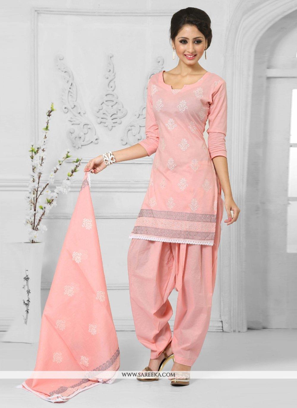 Cotton   Peach Designer Patila Salwar Suit