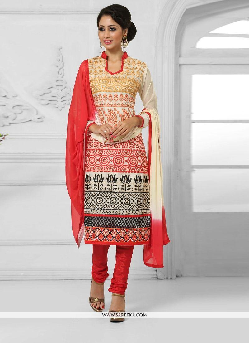 Cream Resham Work Cotton   Churidar Salwar Kameez