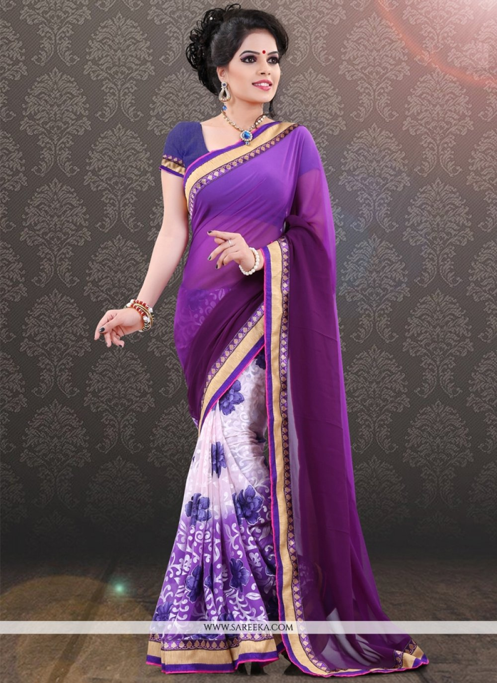 Georgette Violet and White Lace Work Casual Saree