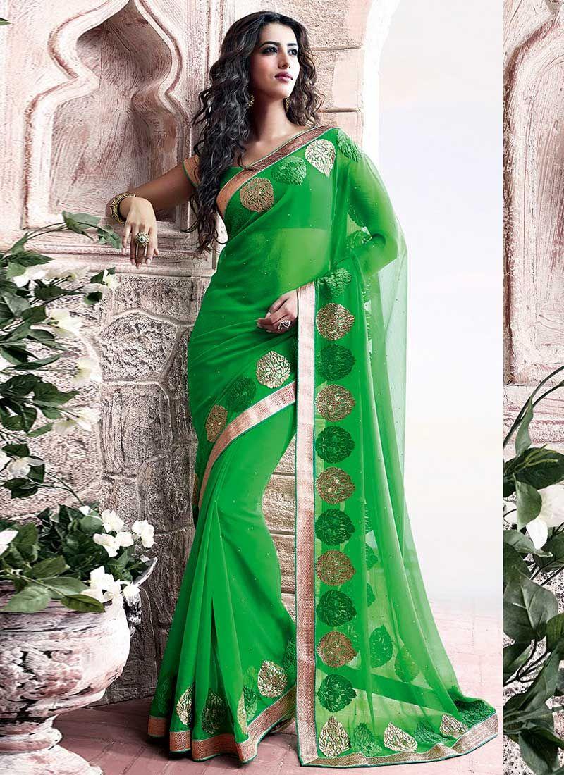 Green Faux Chiffon Saree