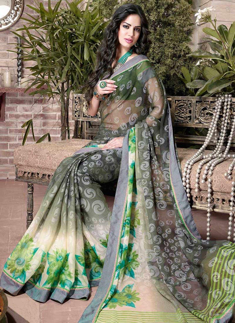 Green Printed Jacquard Saree