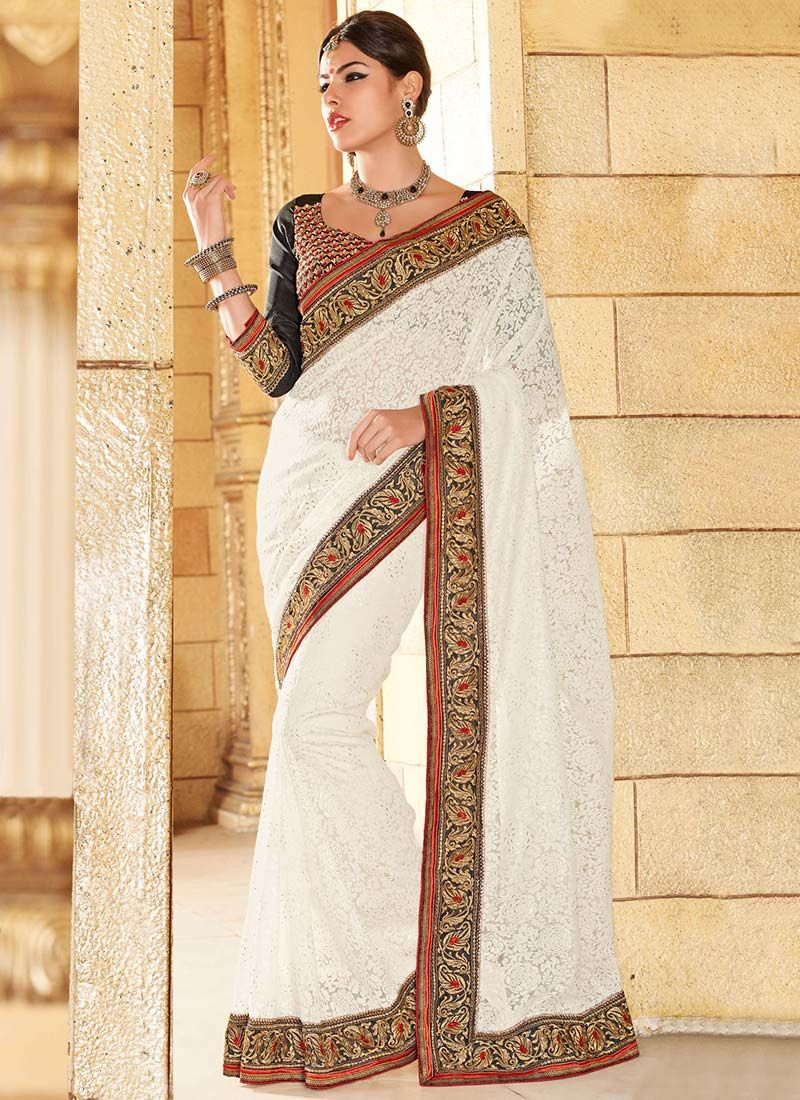 Off White Tissue Brasso Saree