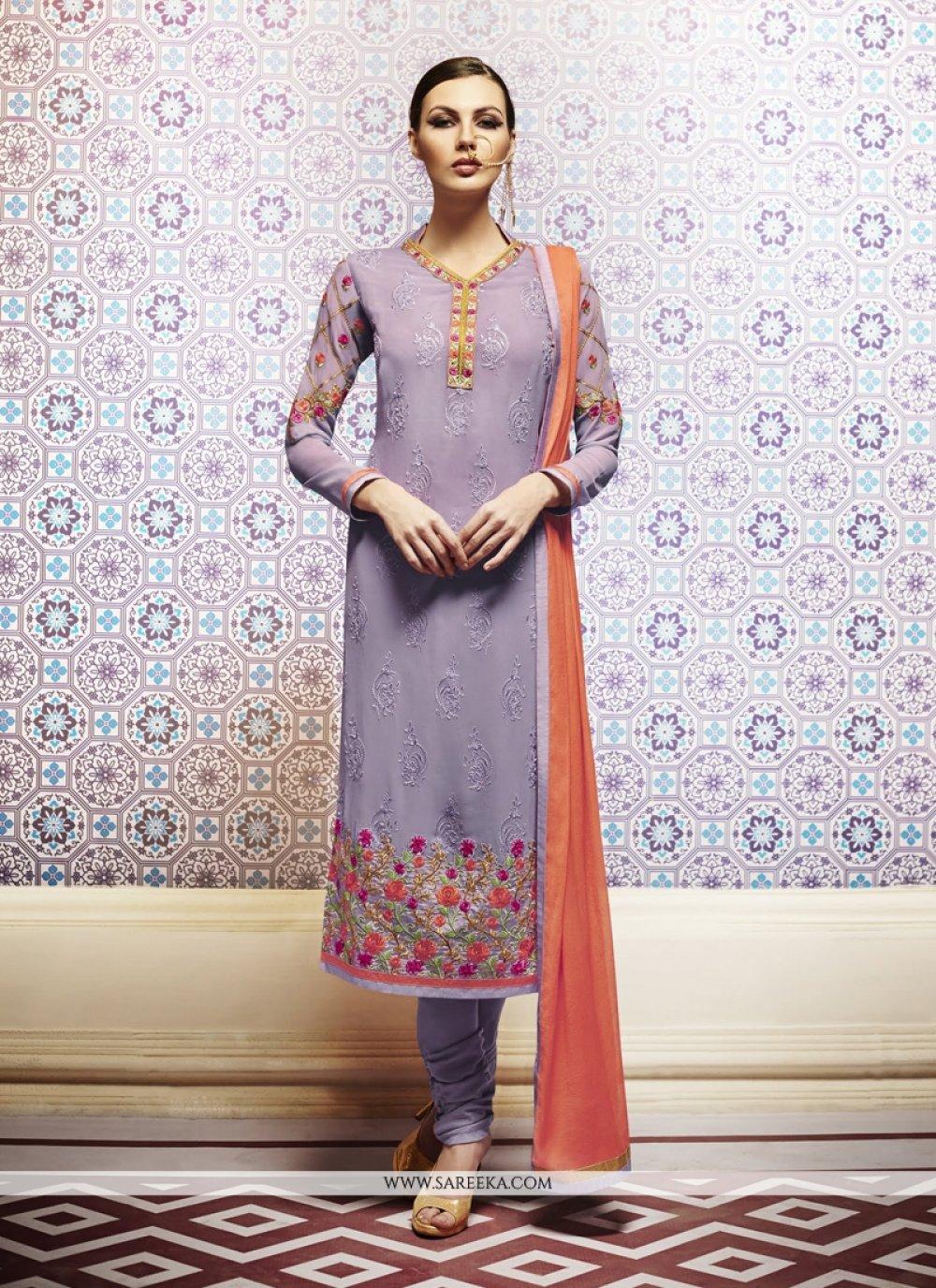 Purple Churidar Designer Suit