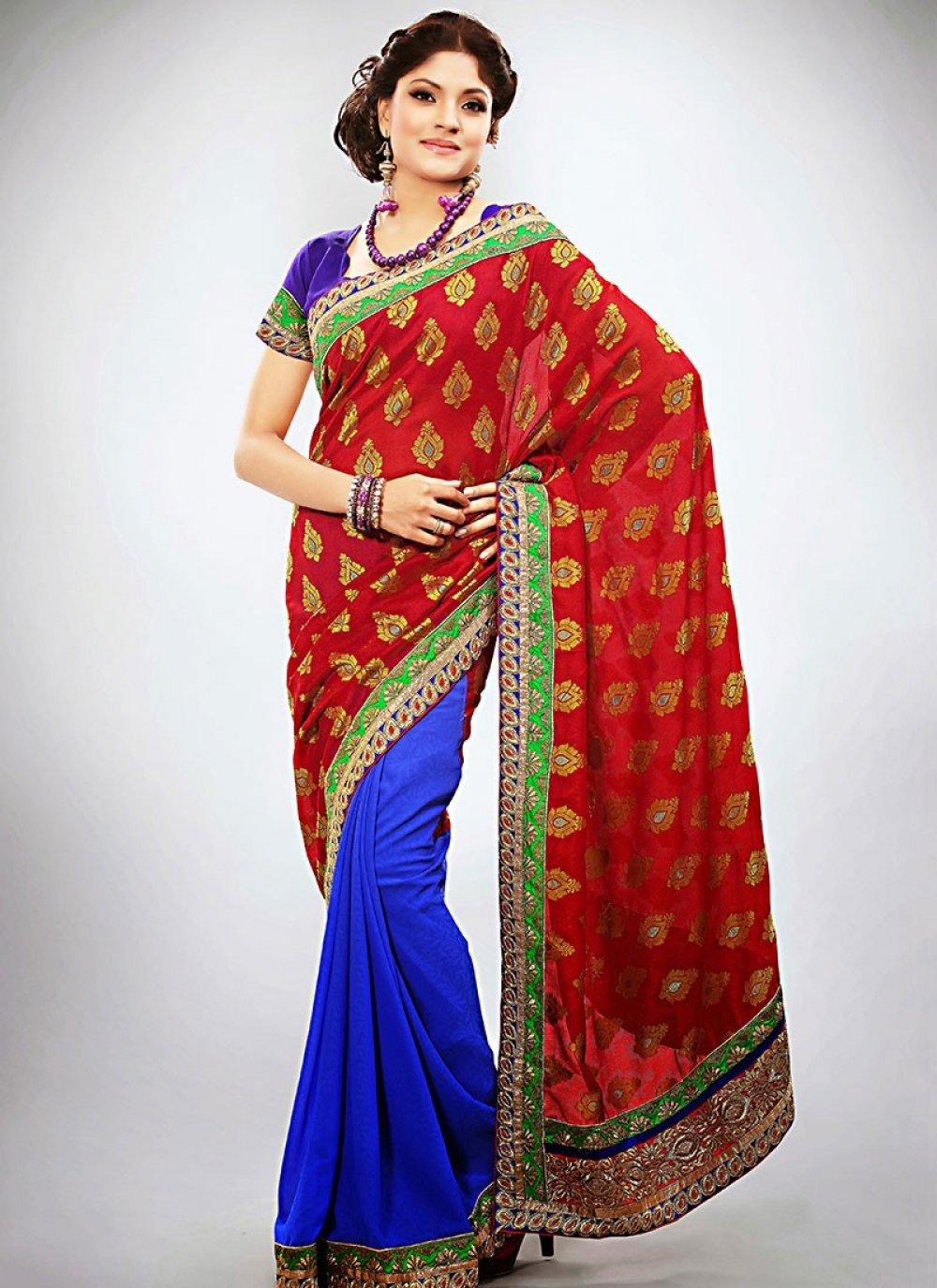 Red And Blue Resham Work Half And Half Saree