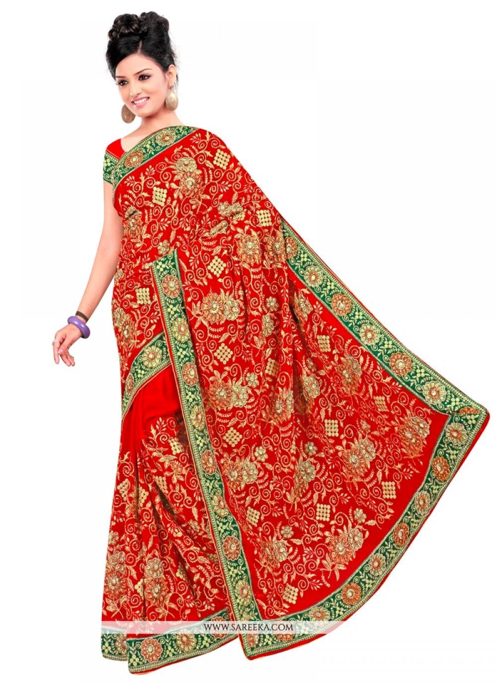 Red Contemporary Style Saree