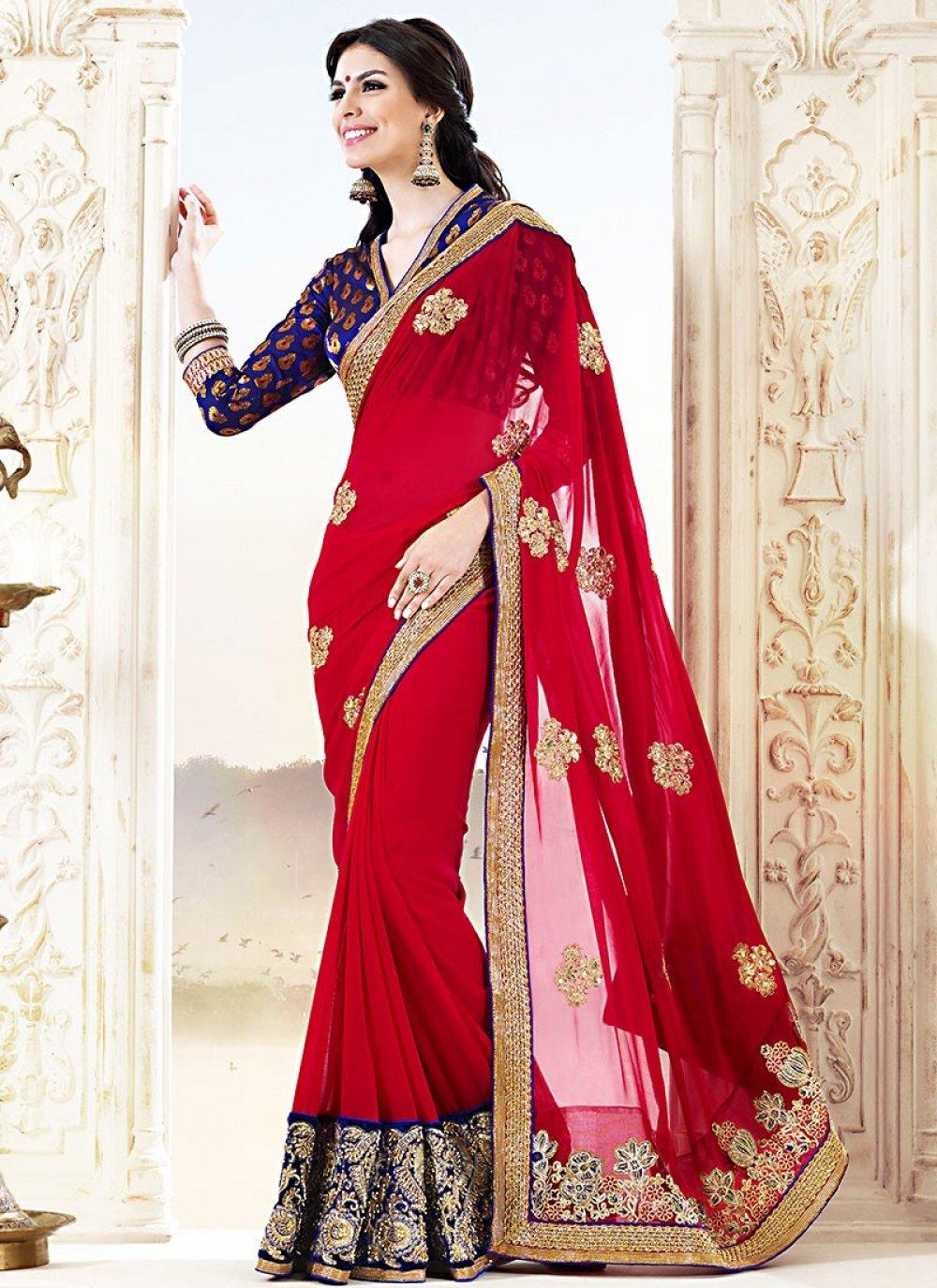 Red Pure Silk Casual Saree
