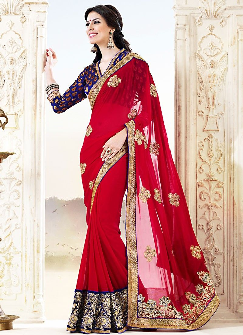 Red Pure Silk Casual Saree
