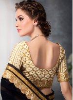 Resham Work Black Georgette Designer Saree