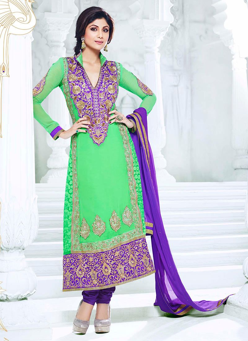 Shilpa Shetty Green Georgette Anarkali Suit
