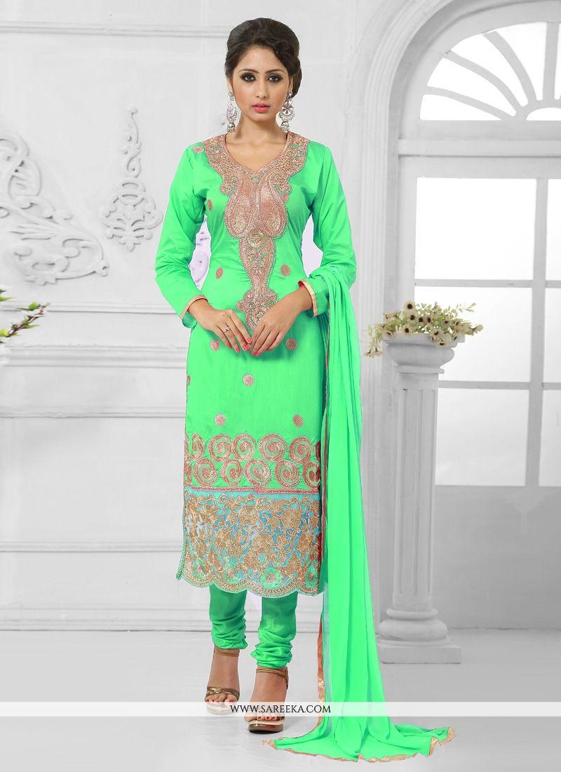 Zari Work Cotton   Green Churidar Designer Suit