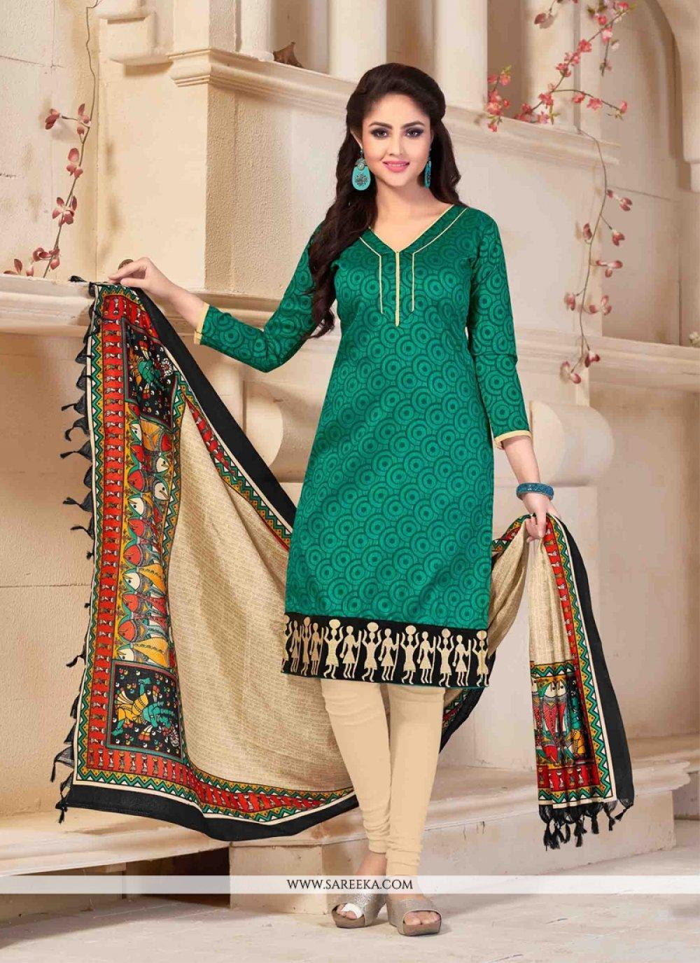 Banglori Silk Green Print Work Churidar Salwar Kameez