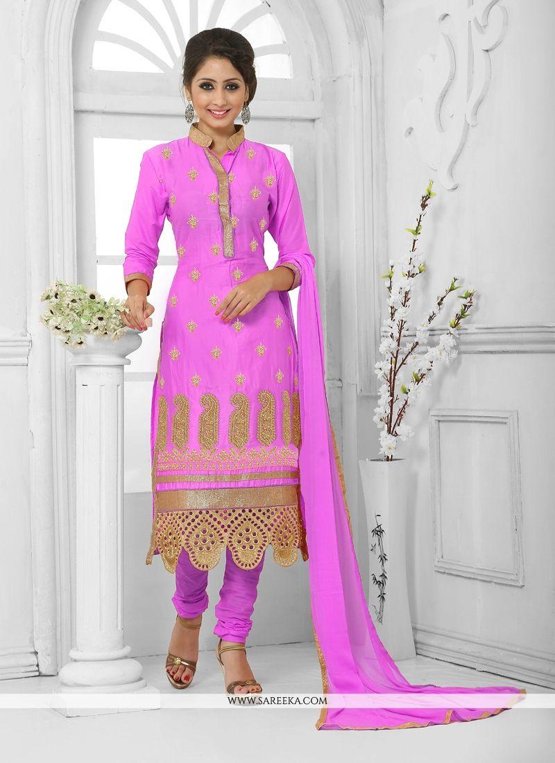 Cotton   Hot Pink Churidar Designer Suit