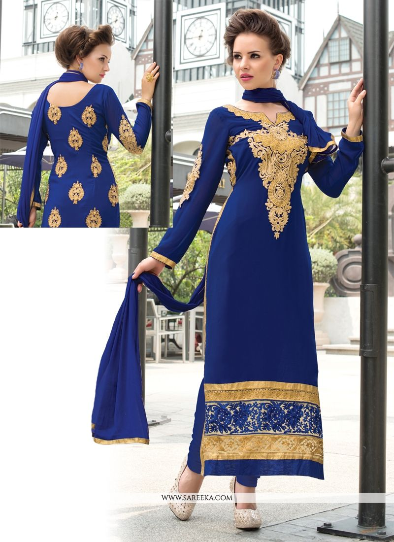 Georgette Resham Work Churidar Salwar Suit