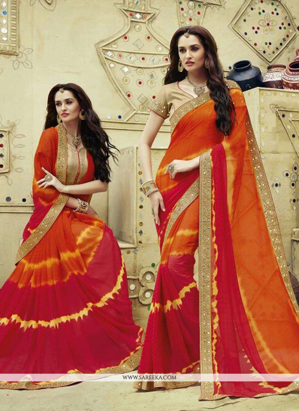 Multi Colour Georgette Designer Saree
