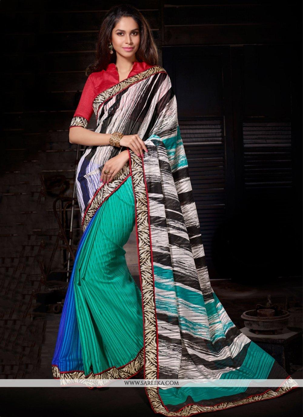 Multi Colour Lace Work Casual Saree
