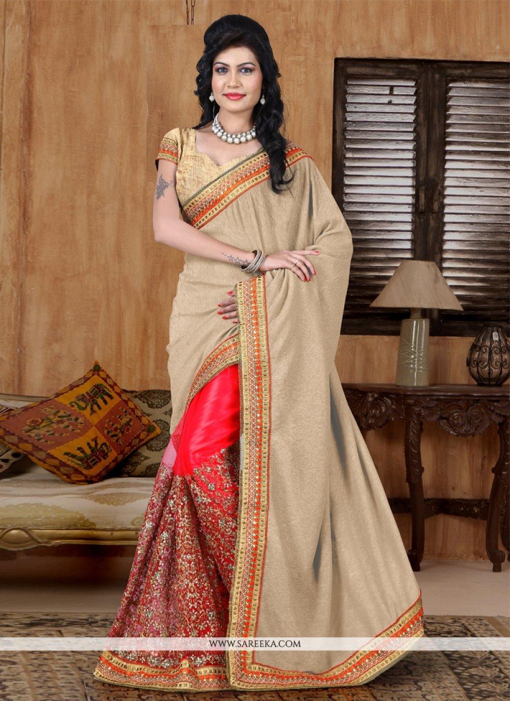 Net Hot Pink Zari Work Designer Half N Half saree