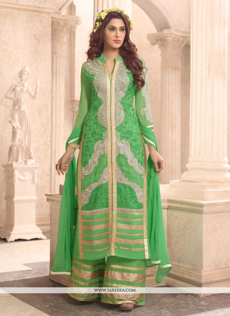 Zari Work Georgette Green Designer Palazzo Suit