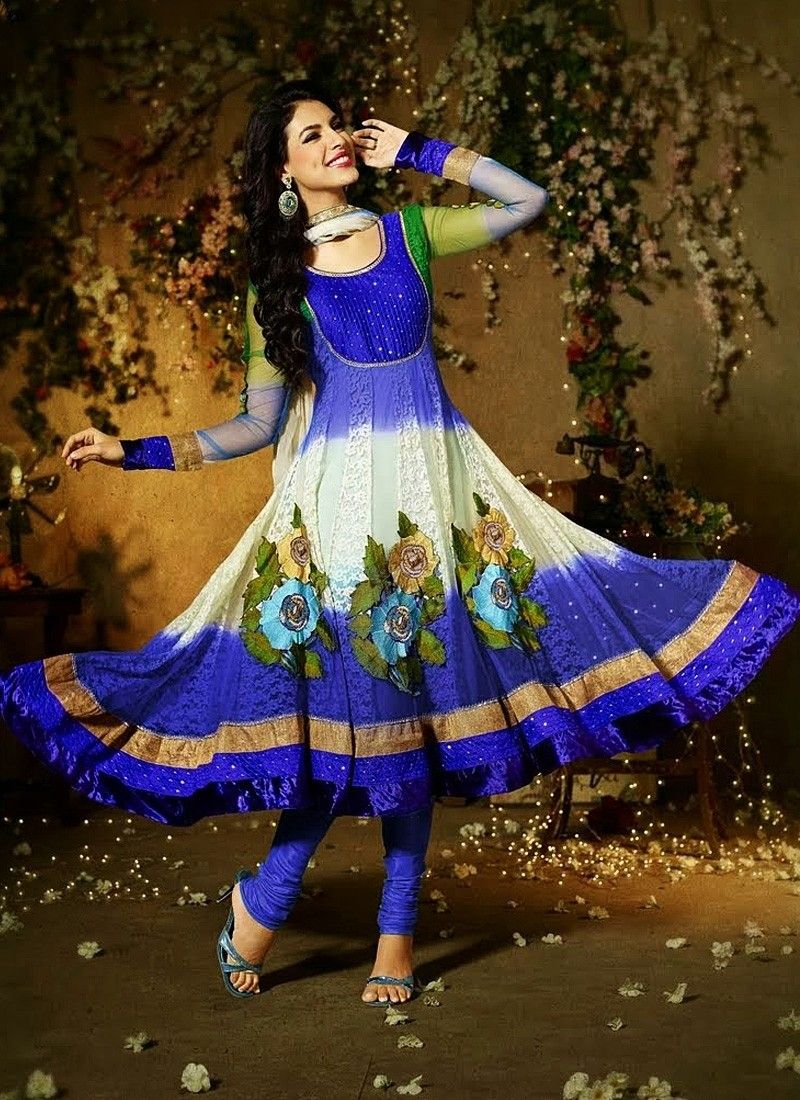 Rejoicing Blue Pure Georgette Anarkali Suit