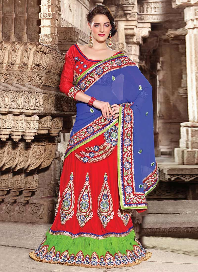 Blue And Red Georgette Lehenga Saree