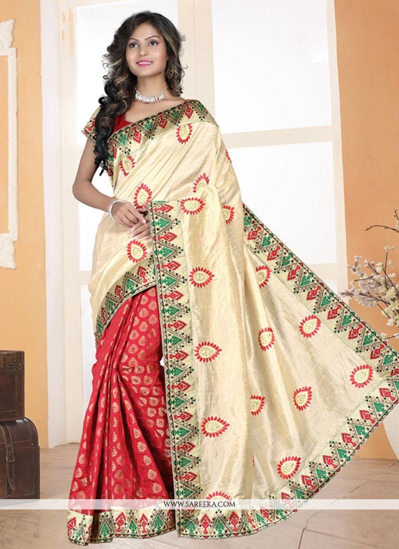 Cream and Red Silk Designer Saree