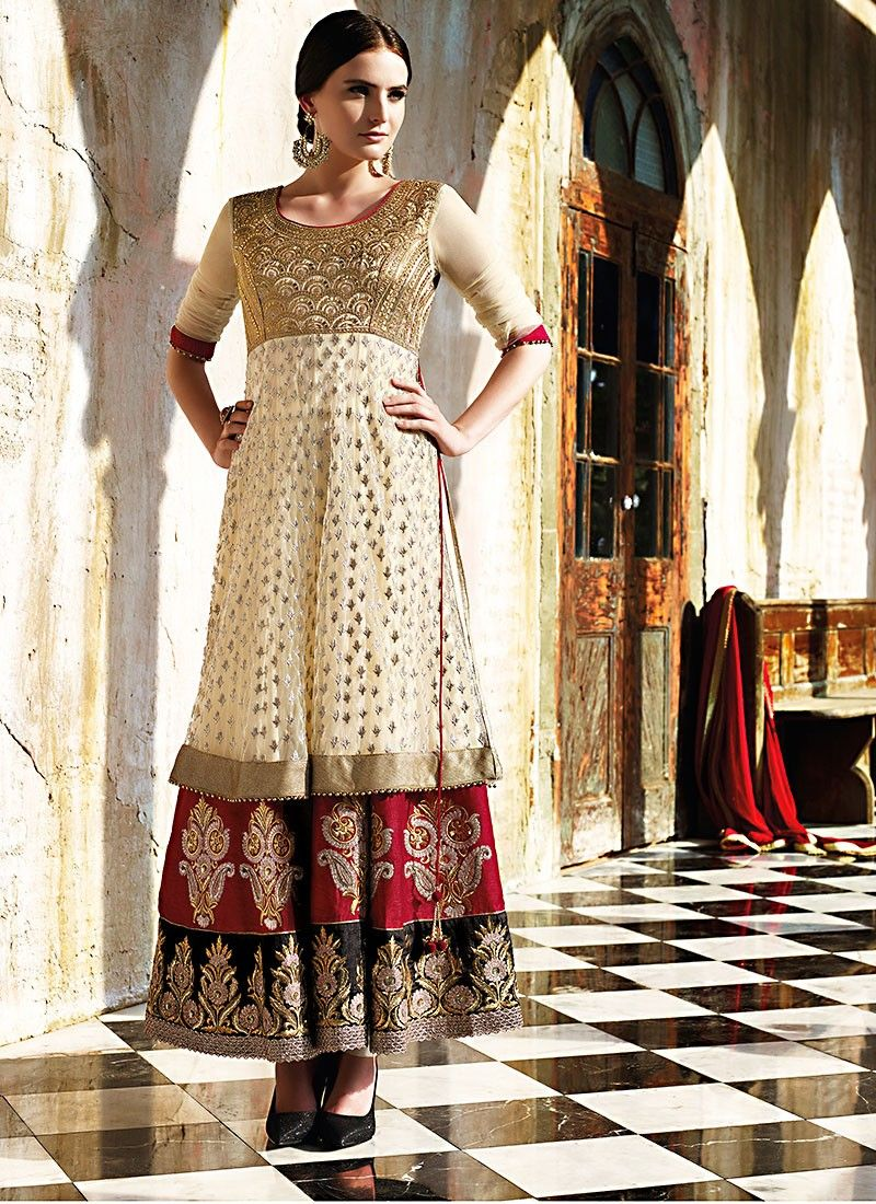 Cream Georgette And Net Anarkali Suit