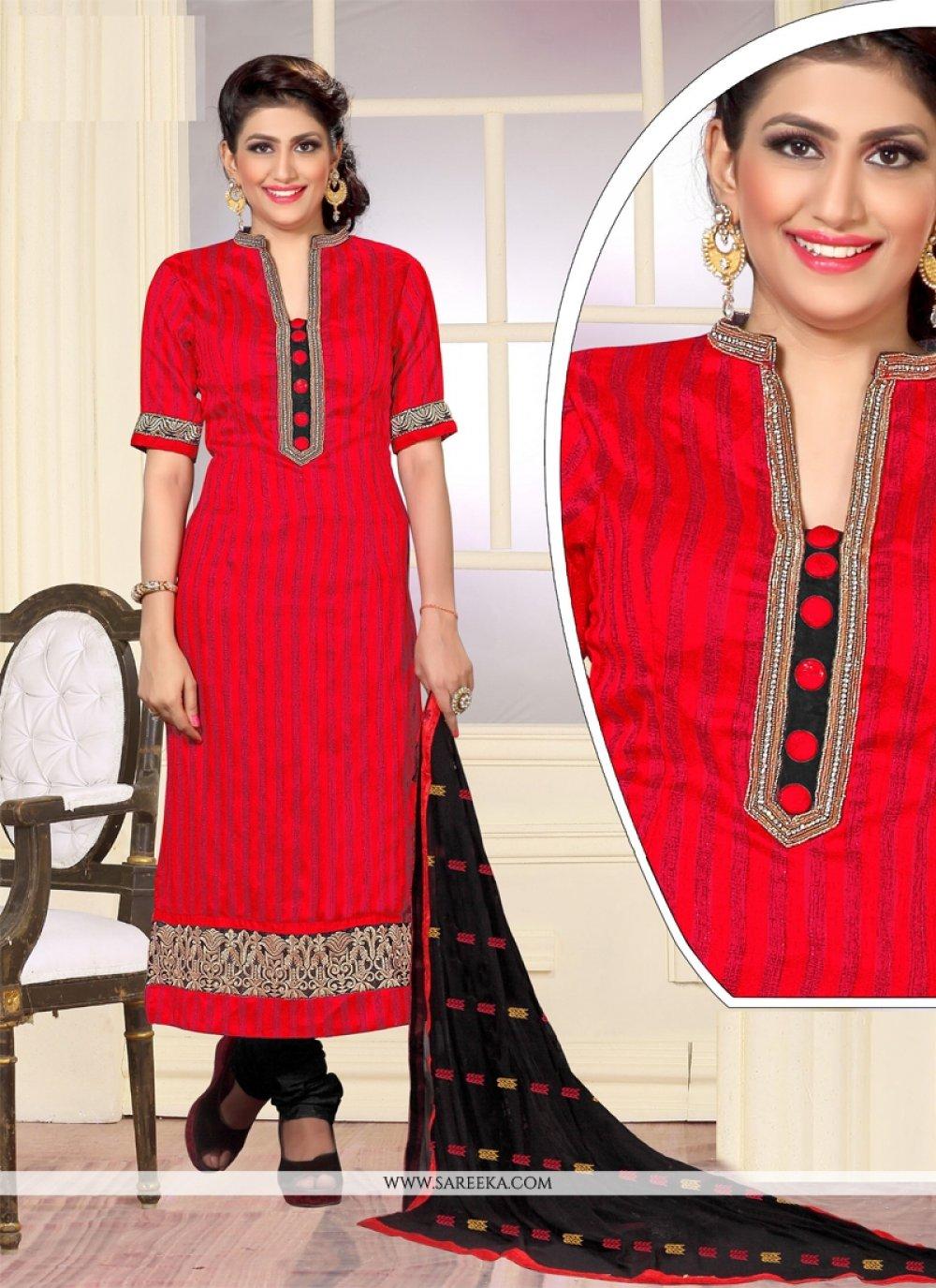 Embroidered Work Jute Silk Designer Straight Salwar Kameez
