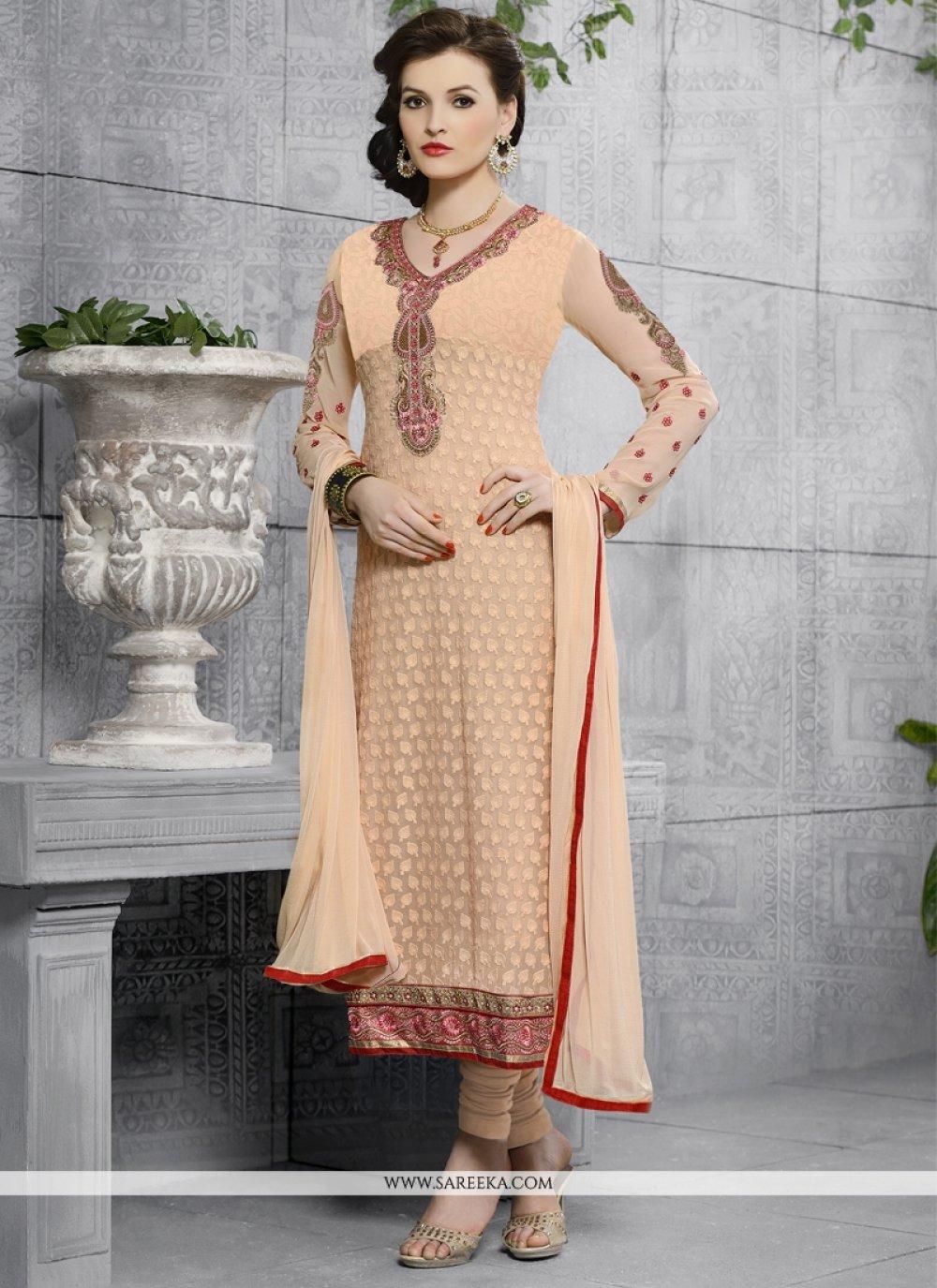 Georgette Peach Embroidered Work Churidar Designer Suit
