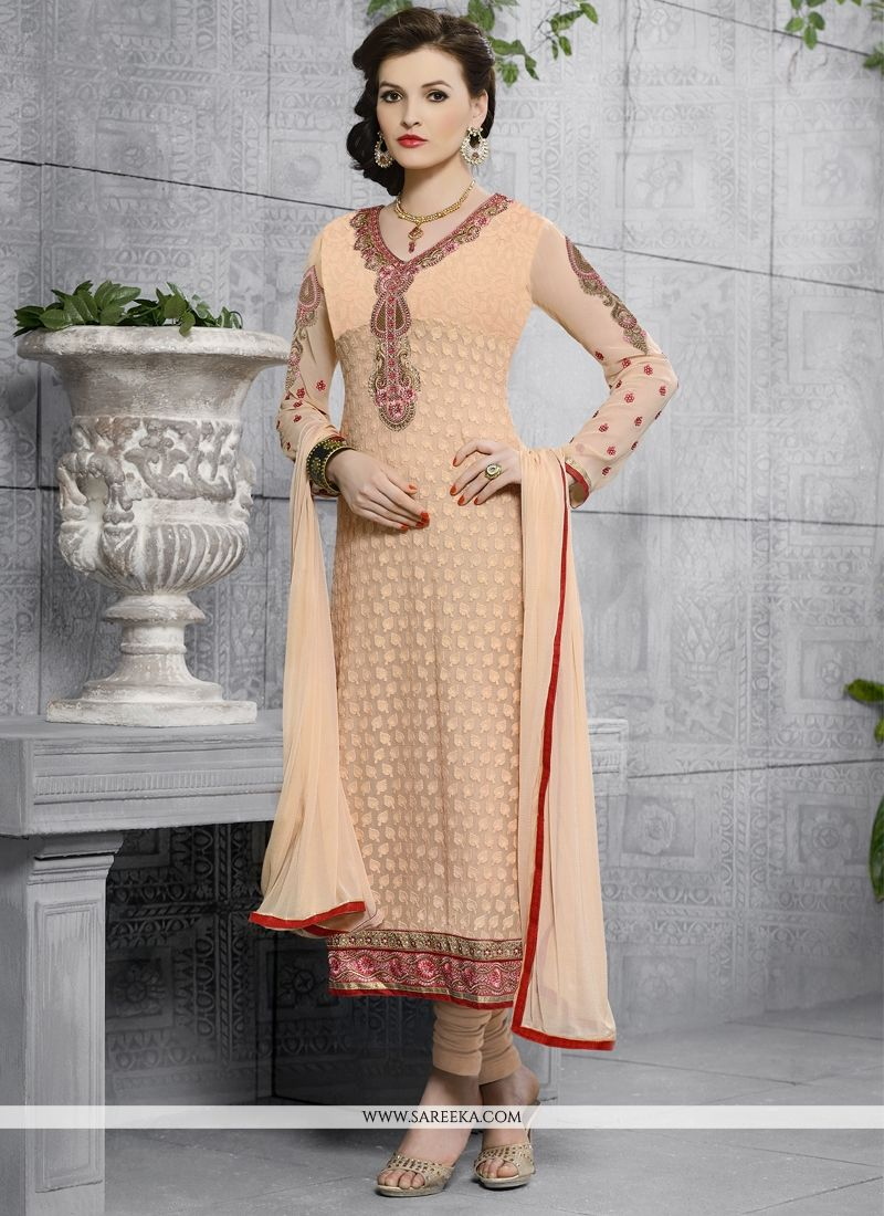 Georgette Peach Embroidered Work Churidar Designer Suit