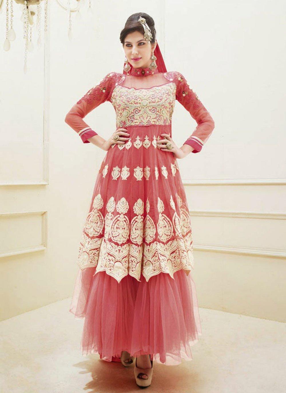 Pink Resham Work Net Anarkali Suit