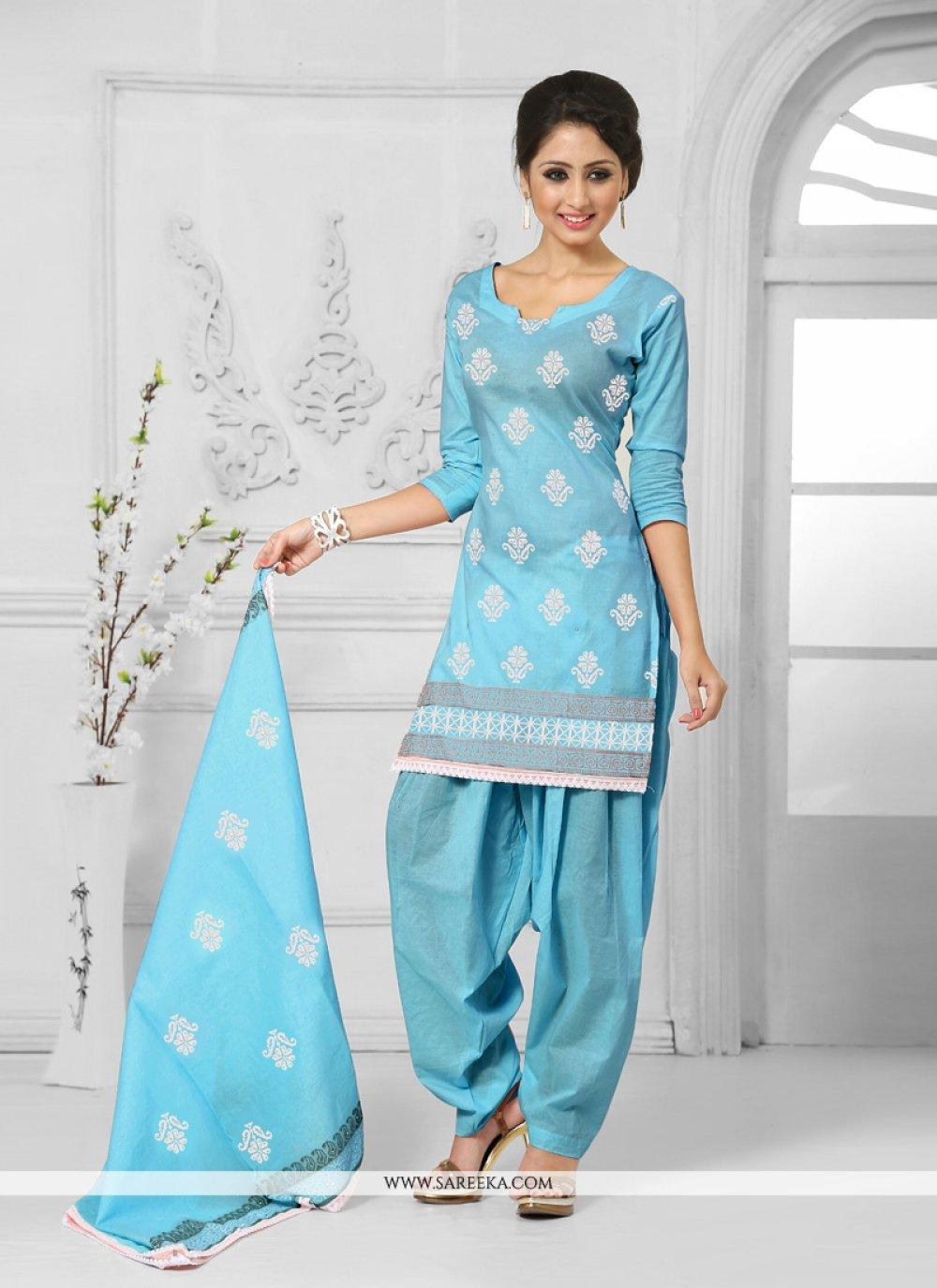 Resham Work Blue Cotton   Designer Patiala Suit