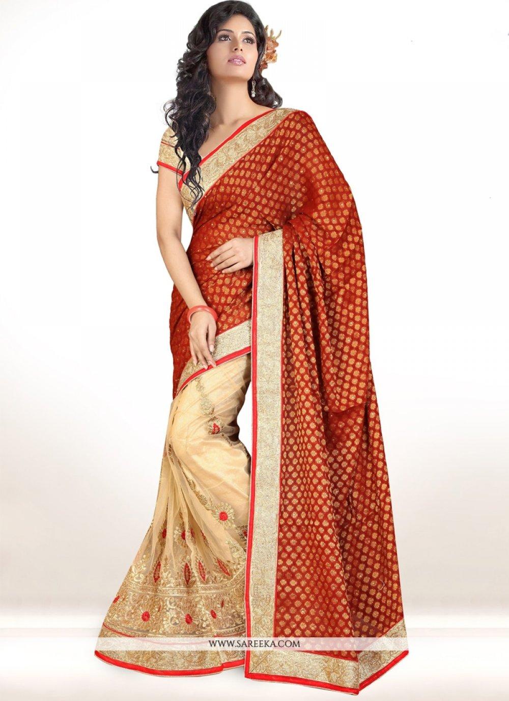 Beige Lace Work Half N Half Designer Saree