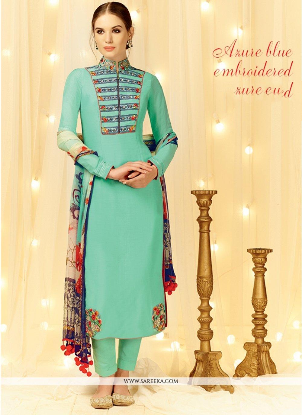 Embroidered Work Sea Green Cotton Satin Designer Straight Salwar Suit
