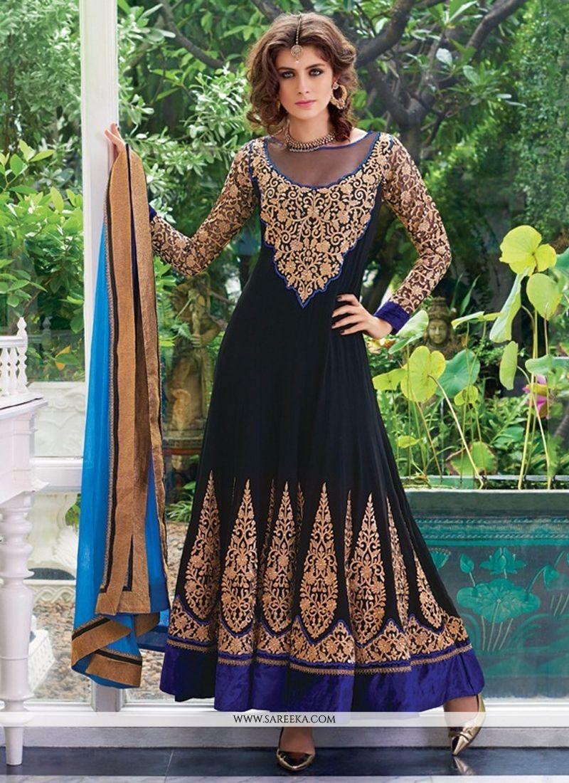 Georgette Resham Work Anarkali Salwar Suit