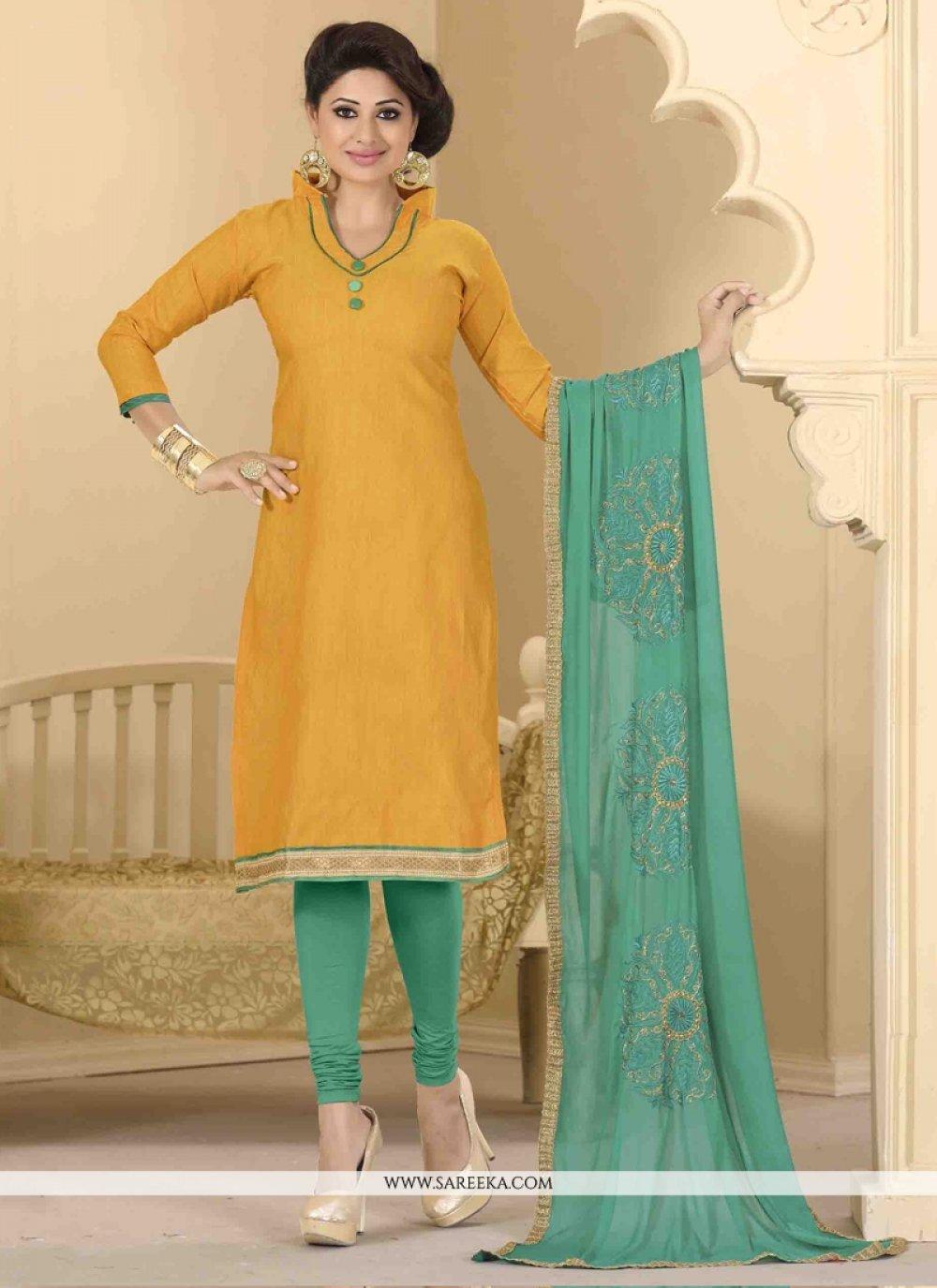 Lace Work Churidar Designer Suit