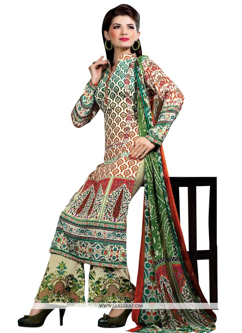Print Work Cotton Satin Designer Suit