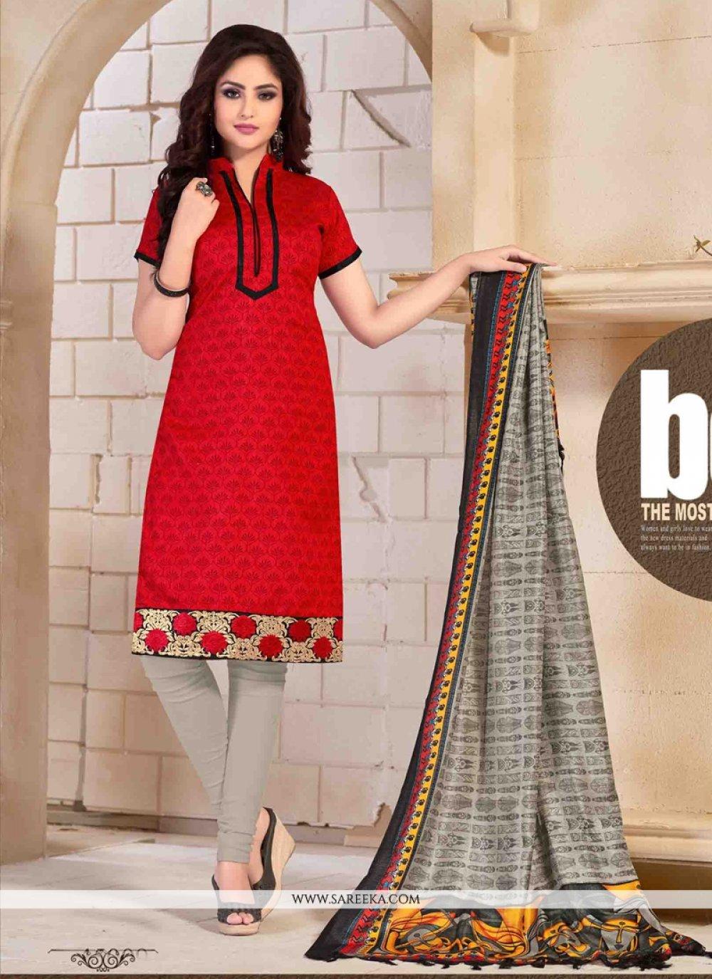 Red Print Work Banglori Silk Churidar Salwar Kameez