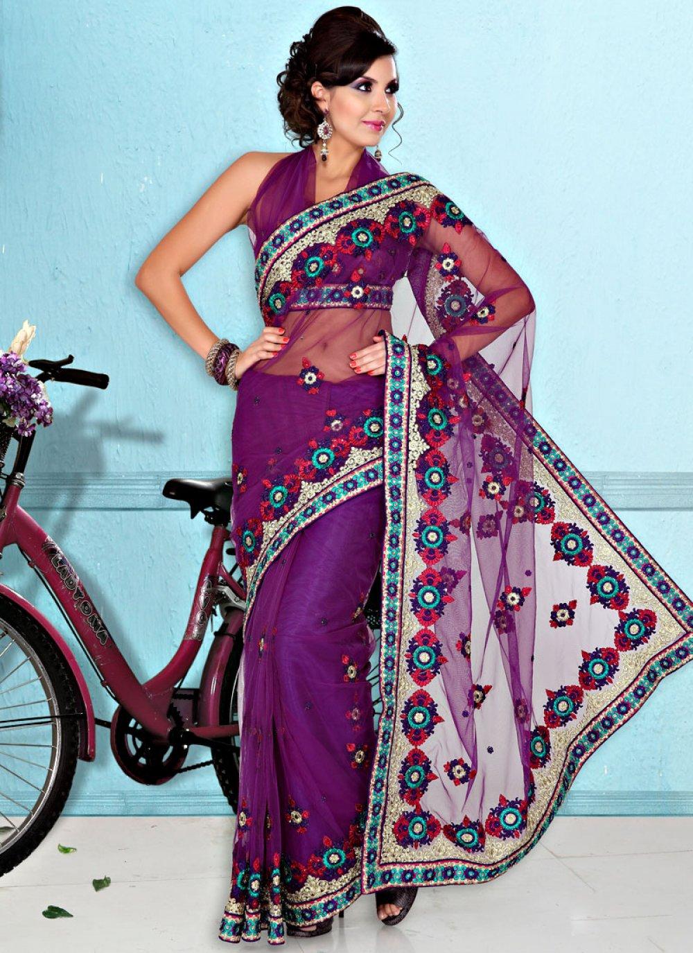 Resham Enhance Purple Net Saree