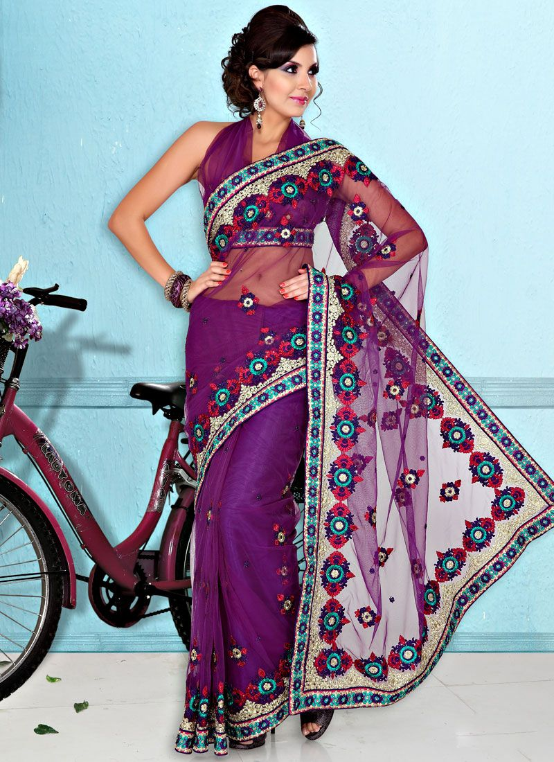 Resham Enhance Purple Net Saree