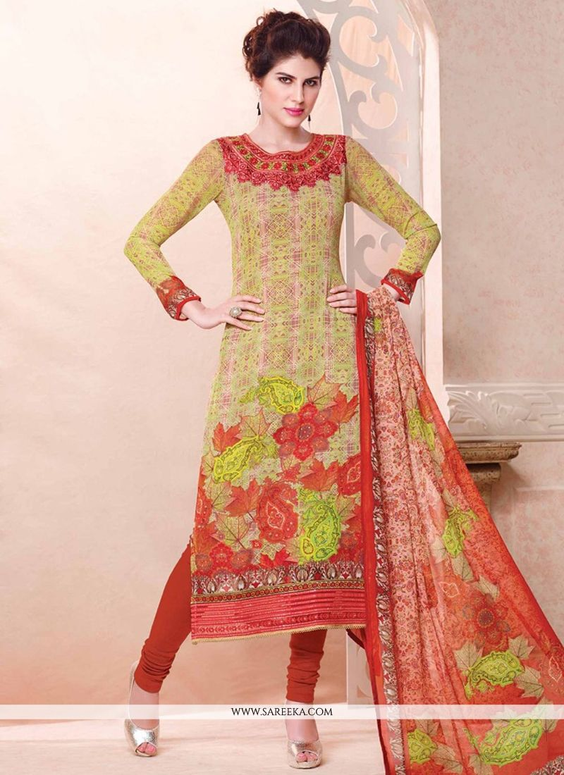 Digital Print Work Multi Colour Georgette Churidar Designer Suit