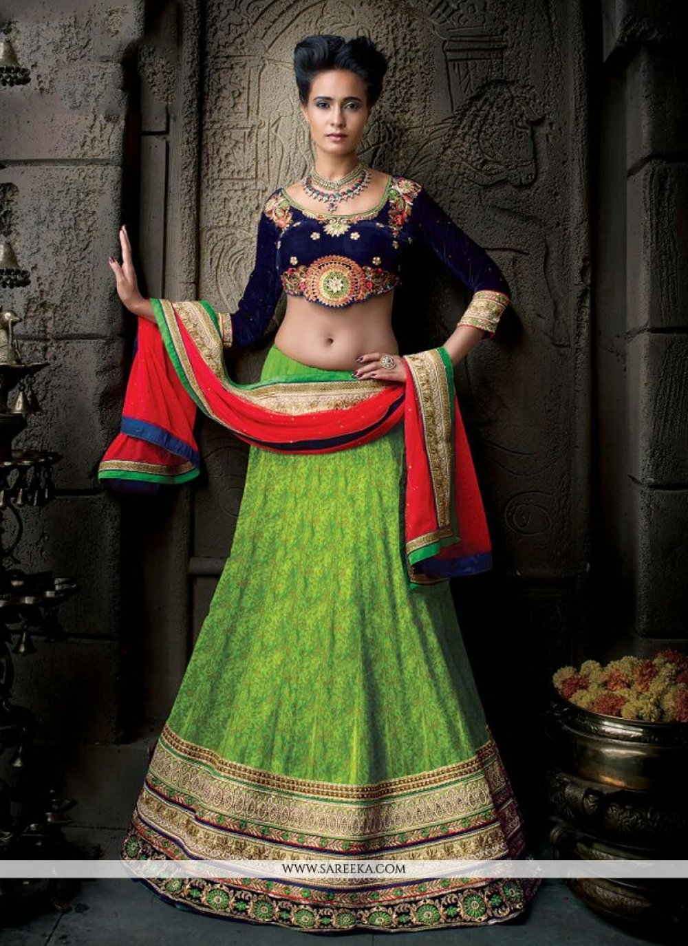 Embroidered Work Green Banarasi Silk A Line Lehenga Choli