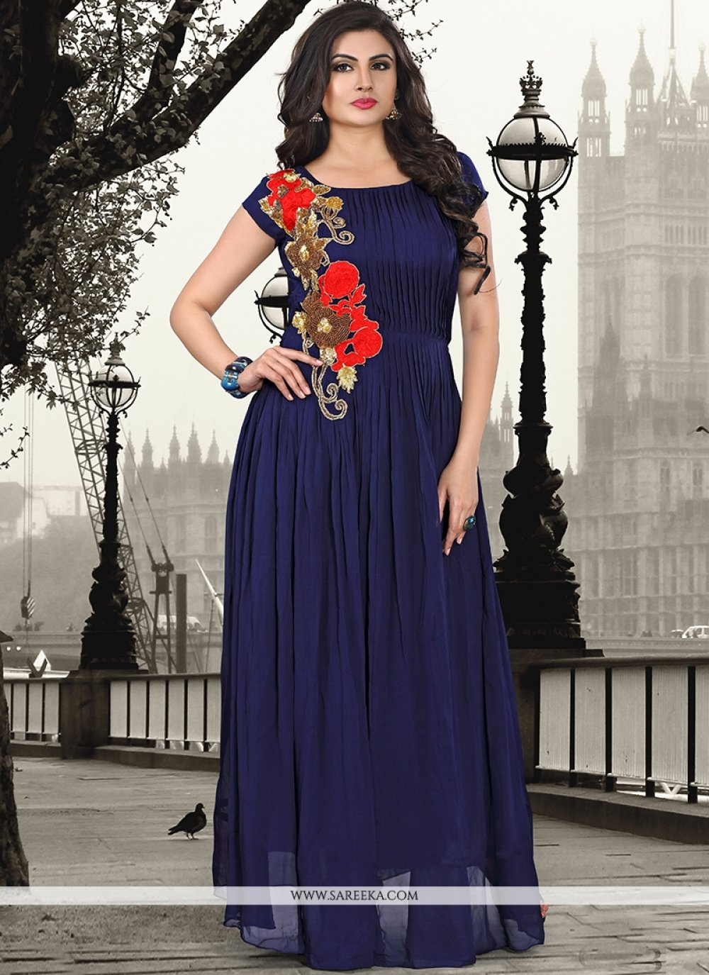 Embroidered Work Pure Georgette Navy Blue Designer Gown