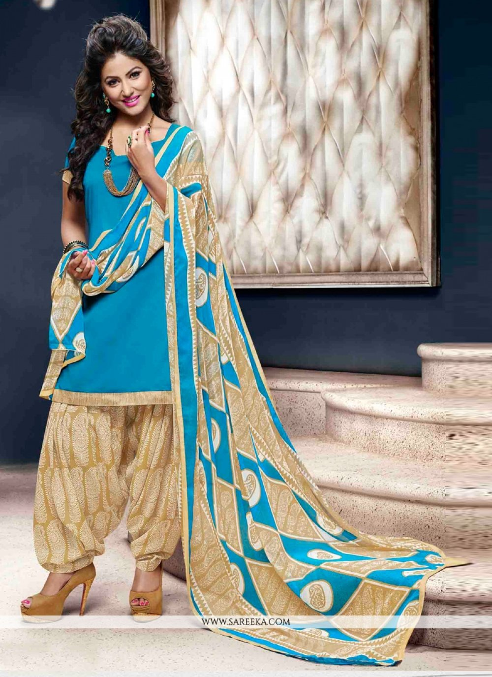 Lace Work Cotton   Designer Patiala Suit