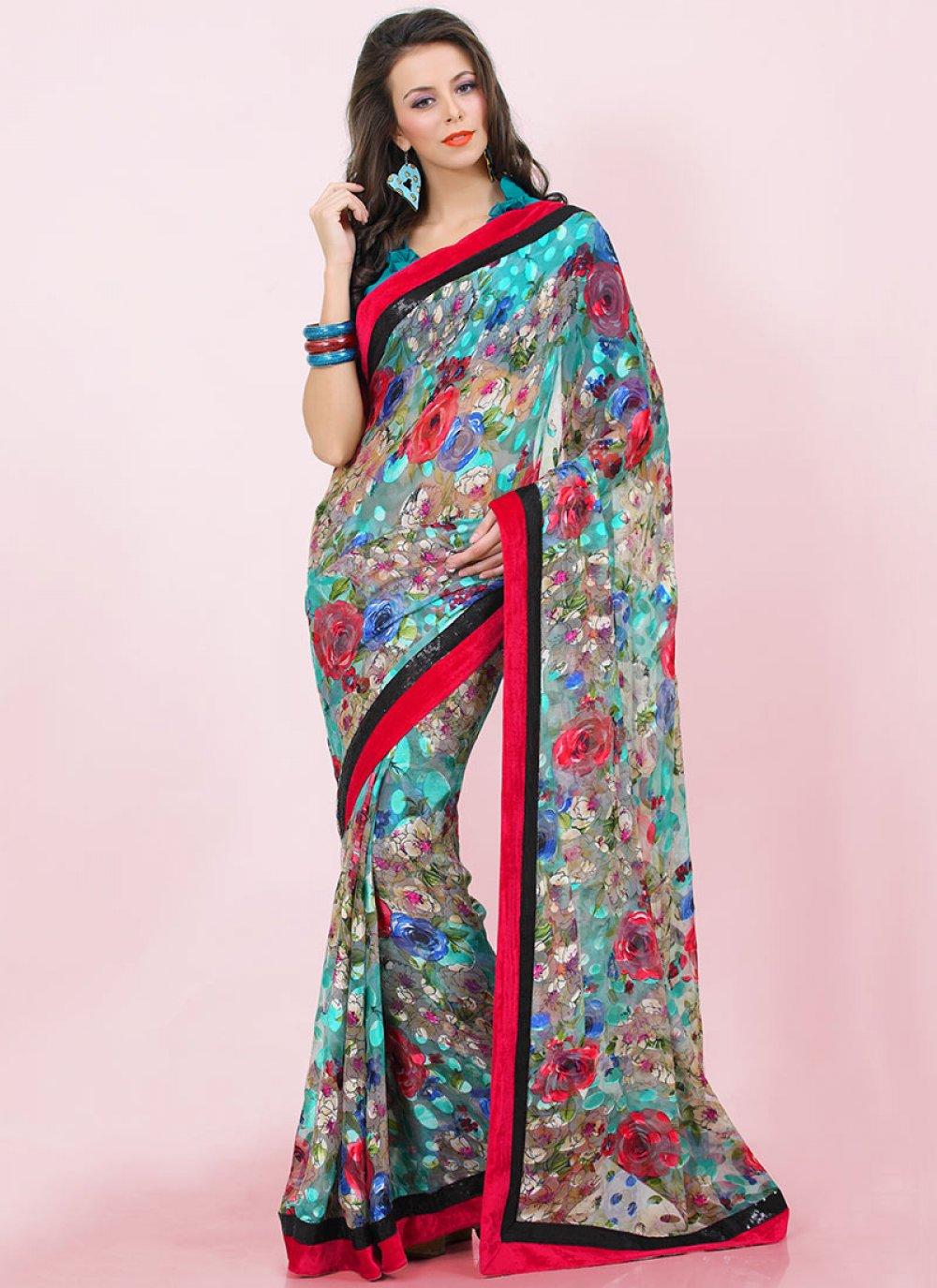 Revishing Multicolored Printed Brasso Saree