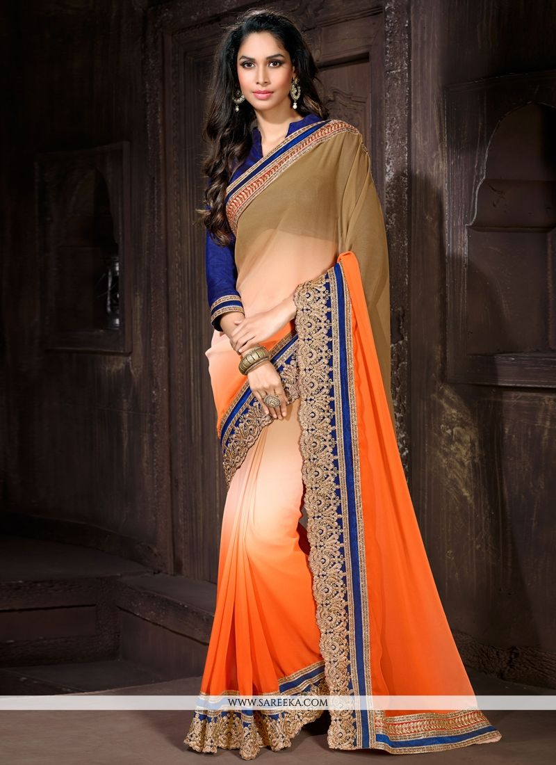 Cream and Orange Patch Border Work Designer Saree
