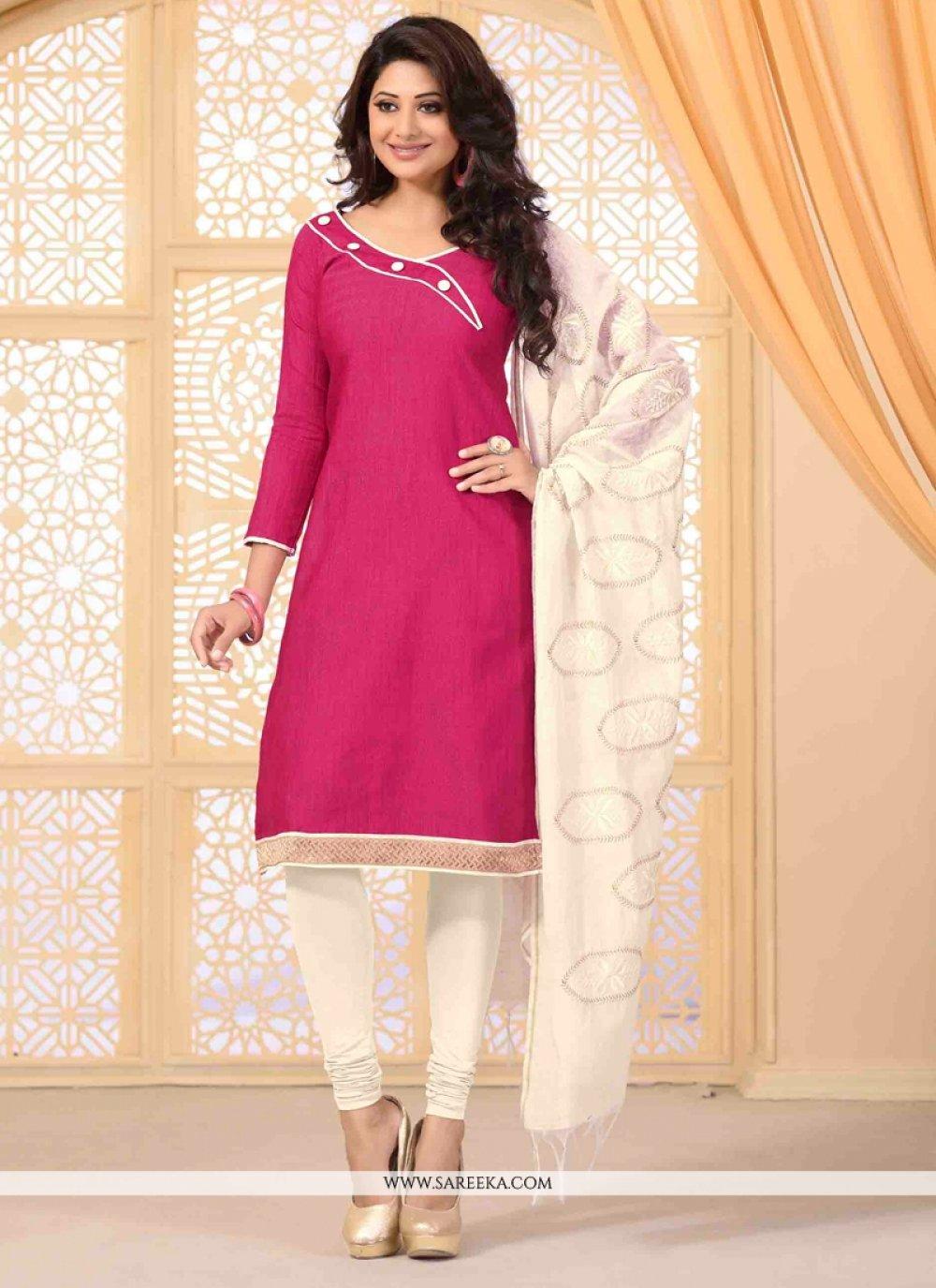 Lace Work Hot Pink Jute Silk Churidar Salwar Kameez