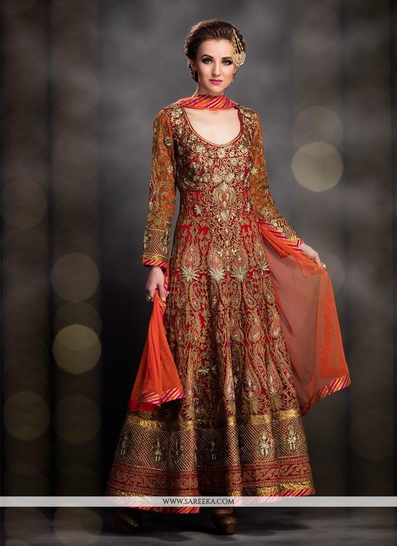 Maroon Wedding Gown