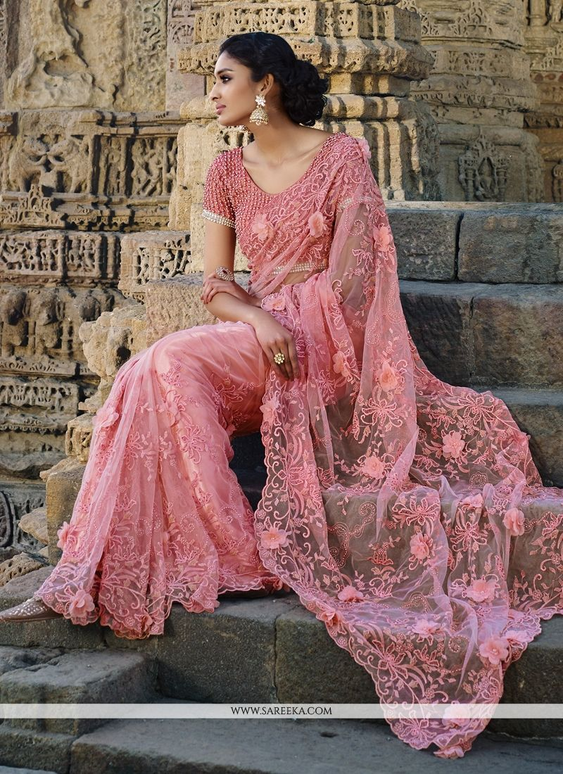 Net Embroidered Work Designer Saree